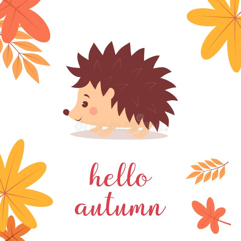Hedgehog with leaves stock illustration