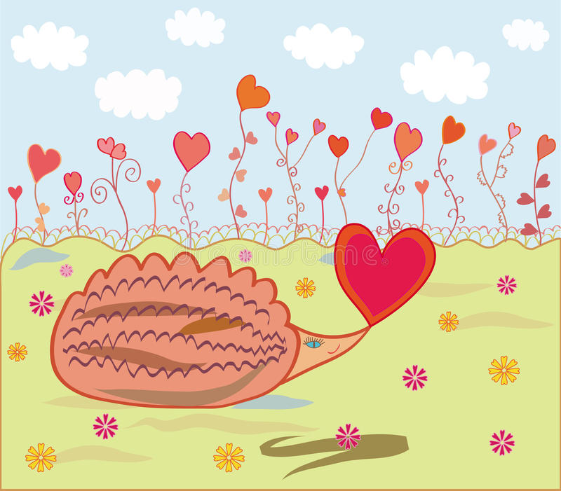 Hedgehog in love stock illustration