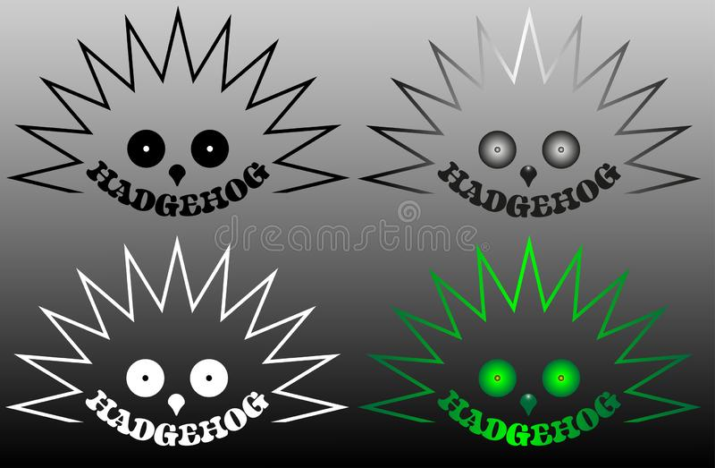 Hedgehog minimalist logo in various versions with the inscription vector illustration