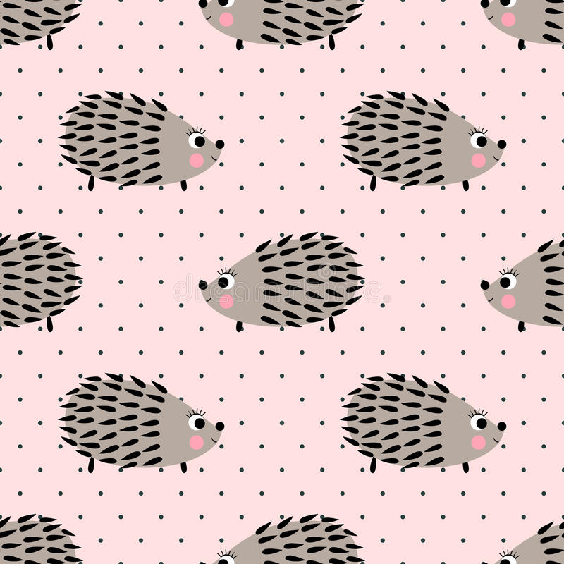 Hedgehog seamless pattern on pink polka dots background. Cute cartoon animal background. royalty free illustration