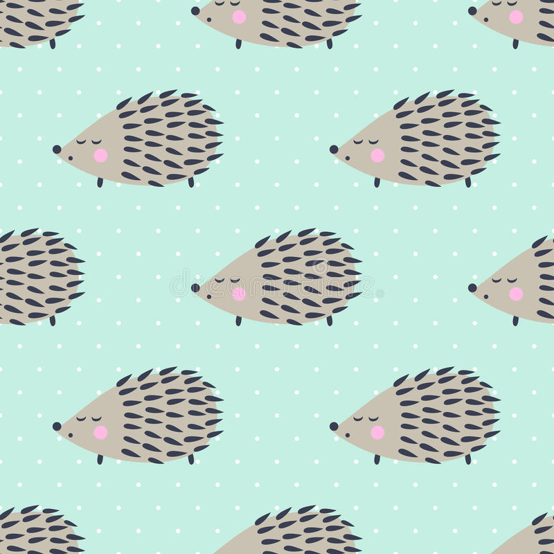 Hedgehog seamless pattern on polka dots background. Cute cartoon animal background. vector illustration