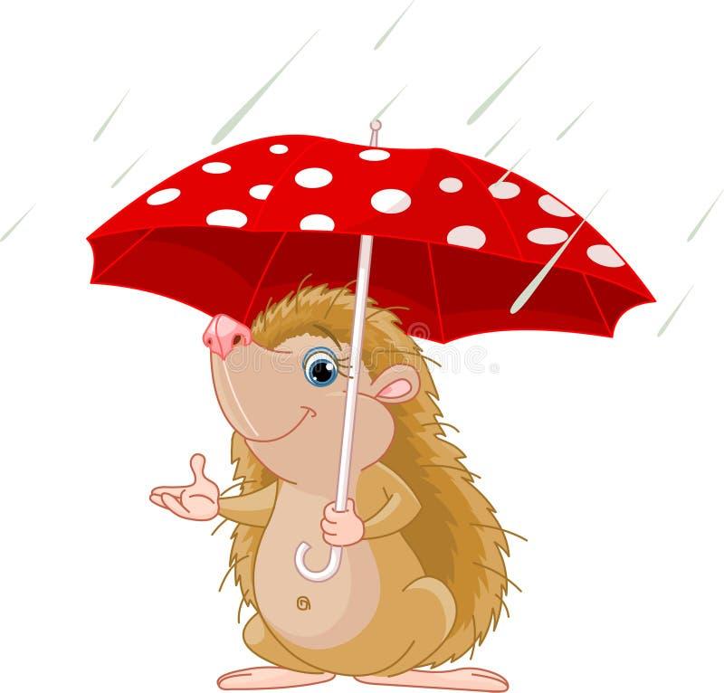 Hedgehog sob a apresentação do guarda-chuva ilustração stock