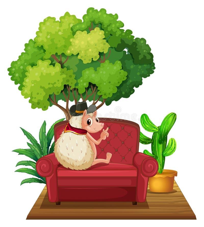 Hedgehog on Sofa. Illustration of a hedgehog sitting on a sofa vector illustration