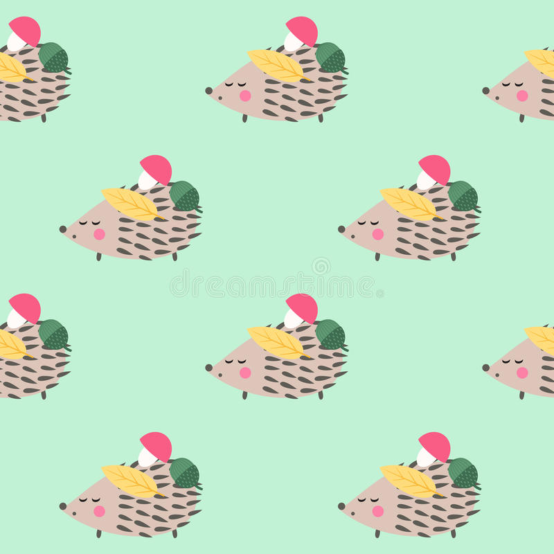 Free Hedgehog With Mushroom, Acorn, Leaf Seamless Pattern On Green Background. Stock Photography - 77798132