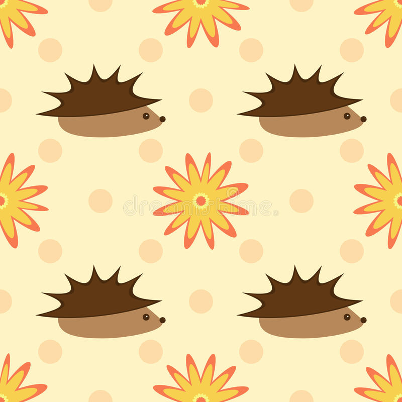 Hedgehogs and flowers on a background of polka dots. Seamless pattern. vector illustration