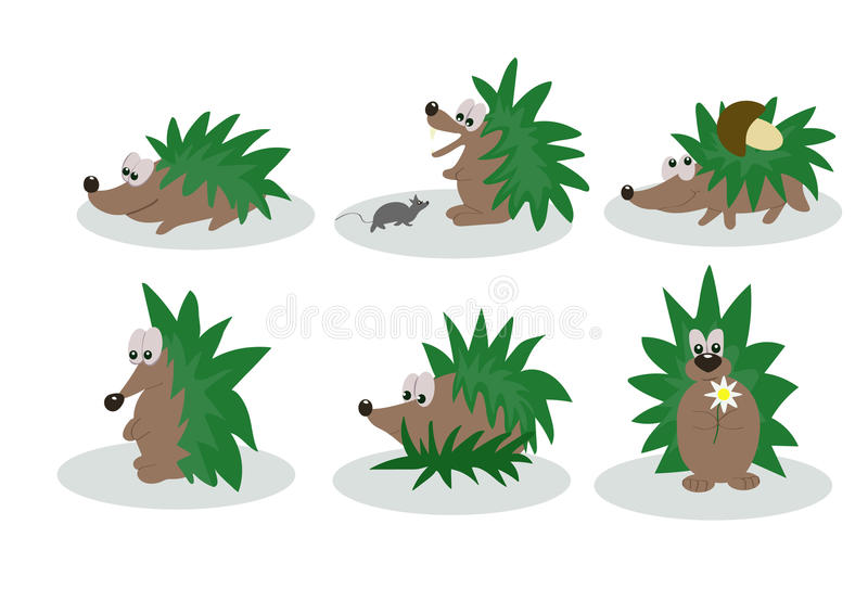Hedgehogs. Green hedgehogs for fun collection royalty free illustration