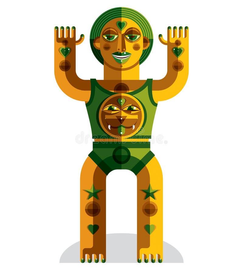 Hednisk symbolvektorillustration, andligt kulttema Modernis stock illustrationer