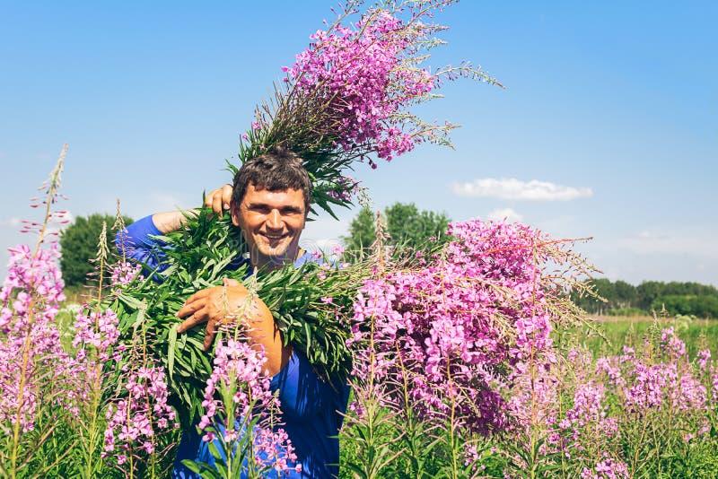Heel en een gelukkige jonge mens die een armvol wildflowers willower ivan thee houden op een achtergrond van een bloeiende weide royalty-vrije stock foto