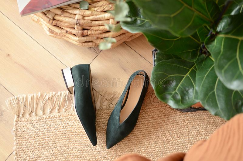 Heel shoes and casual keds. Stylish shoes on woodern floor. Lady`s fashinable footwear. Shoes for warm season.  stock photos