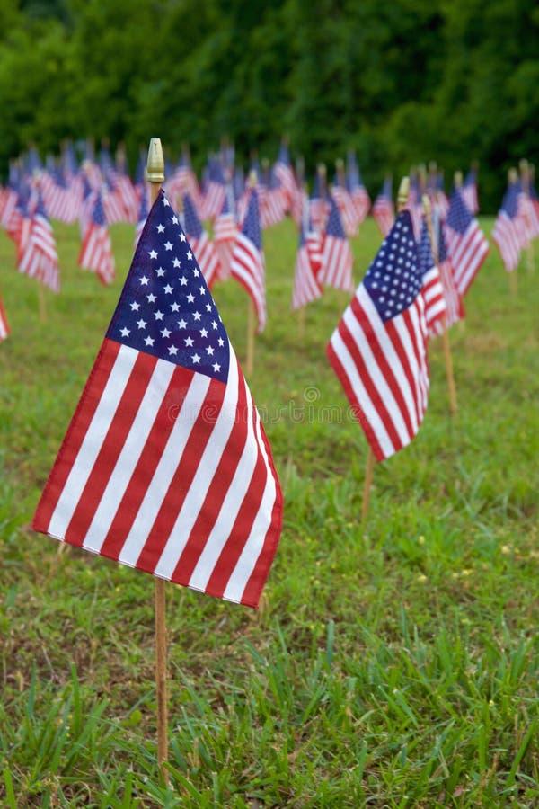 Heel wat Amerikaanse vlaggen royalty-vrije stock foto's