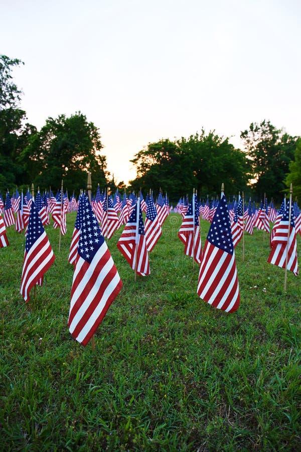 Heel wat Amerikaanse vlaggen royalty-vrije stock foto