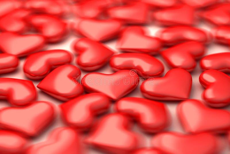 Heel wat 3d harten in defocus vector illustratie