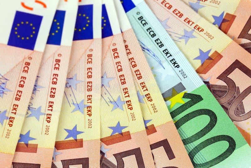 Heel wat euro bankbiljetten stock foto