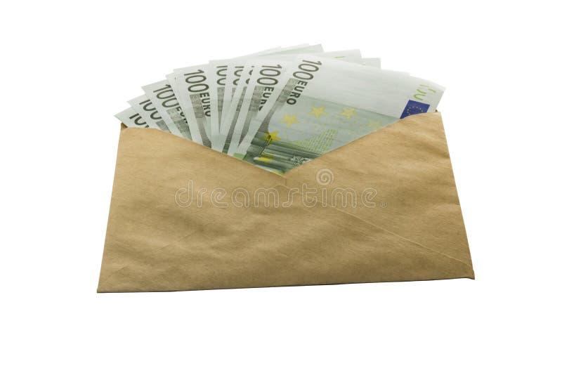 Heel wat euro geld in een bruine envelop stock afbeelding