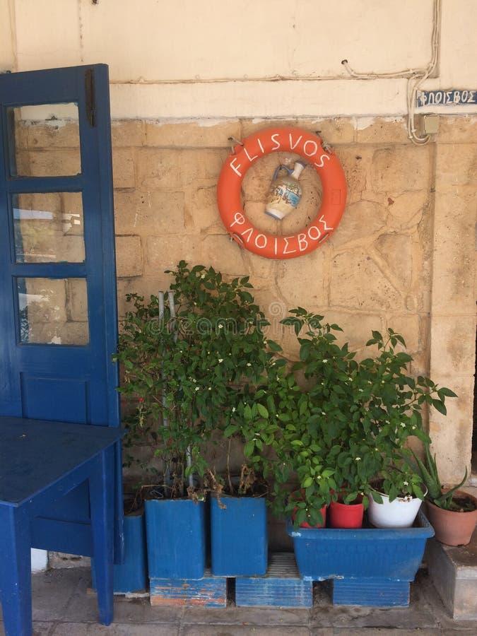 Heel wat groene installaties in blauwe potten tegen de achtergrond van een bruine muur De blauwe deur en de blauwe lijst Op de mu royalty-vrije stock foto's