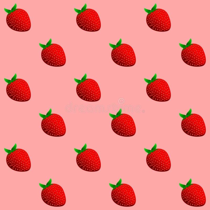 Heel wat helder, is verse bessen van een aardbei Naadloos patroon van aardbeien royalty-vrije illustratie
