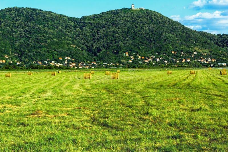 Heel wat hooibergen en panorama van de stad royalty-vrije stock foto's