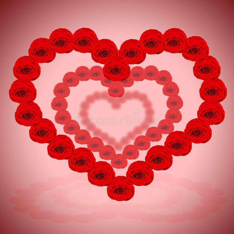 Heel wat rode harten worden gemaakt van rozen stock foto
