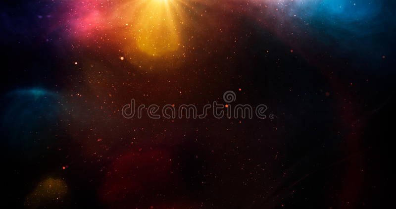 Heelal met sterren met rainbownlicht royalty-vrije stock foto