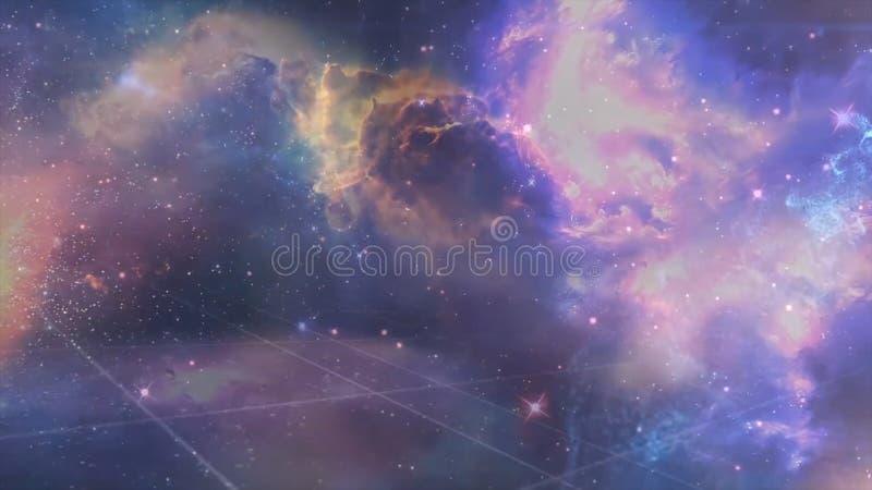 Heelal met sterren, nevel en melkweg wordt gevuld die Nevel en melkwegen in ruimte Melkweg en roze licht bij bergen stock illustratie