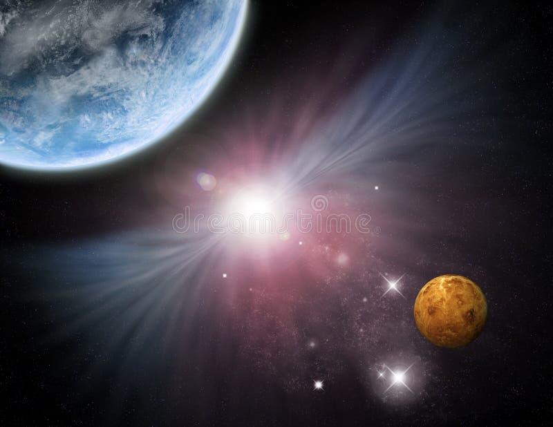 Heelal - starfield planeten en nevel stock illustratie