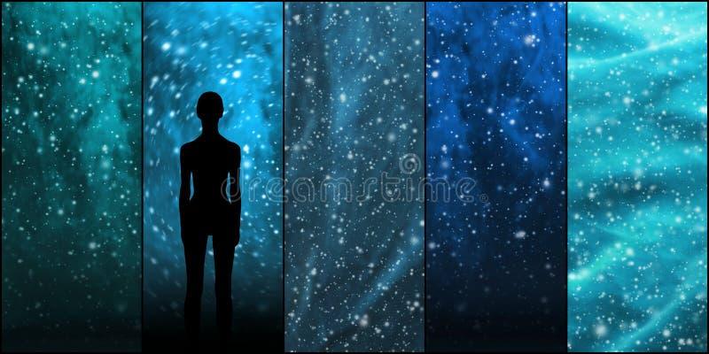 Heelal, sterren, constellaties, planeten en een vreemde vorm Ruimteinzameling als achtergrond stock foto's