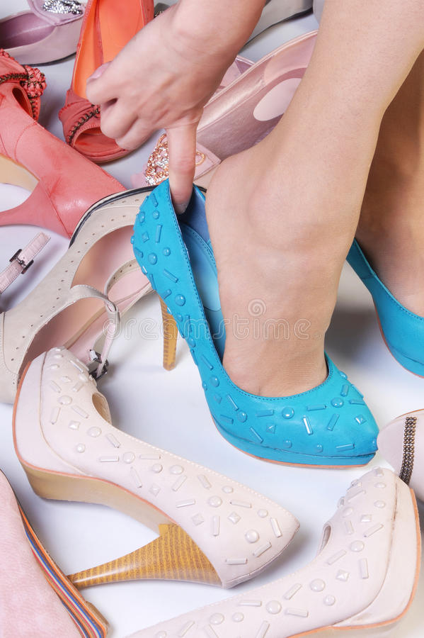 heeled höga skor arkivbild