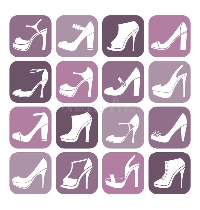heeled set skor för hög symbol stock illustrationer