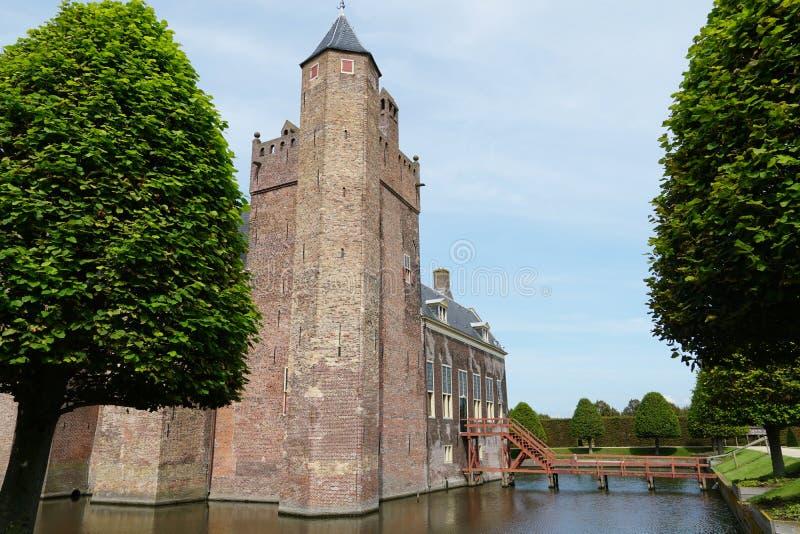 Assumburg castle in Heemskerk. Heemskerk, the Netherlands. August 2019.  The back entrance of castle Assumburg stock photos