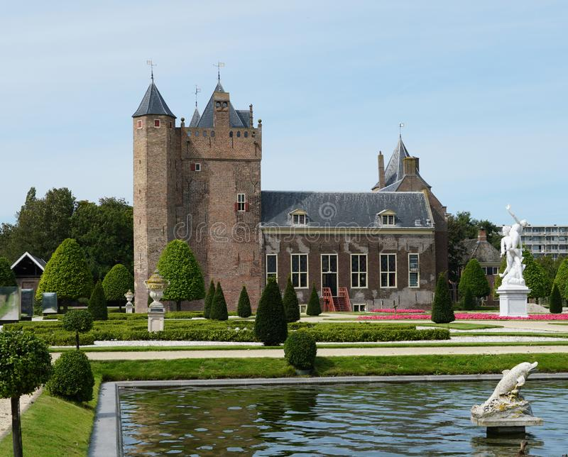 Assumburg castle in Heemskerk. Heemskerk, the Netherlands. August 2019.  Castle Assumburg seen from the castle gardens royalty free stock photography