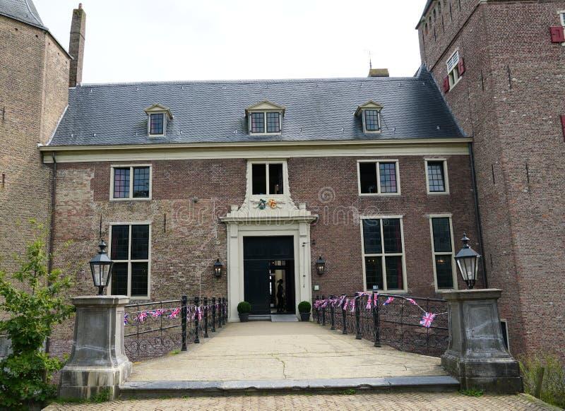 Assumburg castle in Heemskerk. Heemskerk, the Netherlands. August 2019.  Entrance to castle Assumburg stock image