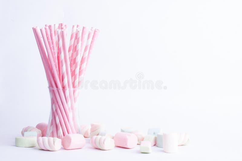 Heemstsuikergoed en het drinken stro, partijconcept stock afbeelding
