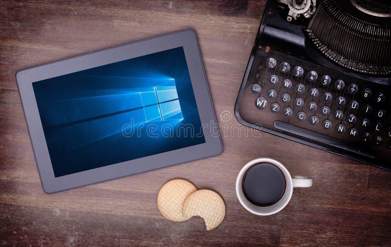 HEERENVEEN, NETHERLANDS, June 6, 2015: Tablet computer with Windows 10 royalty free stock photos