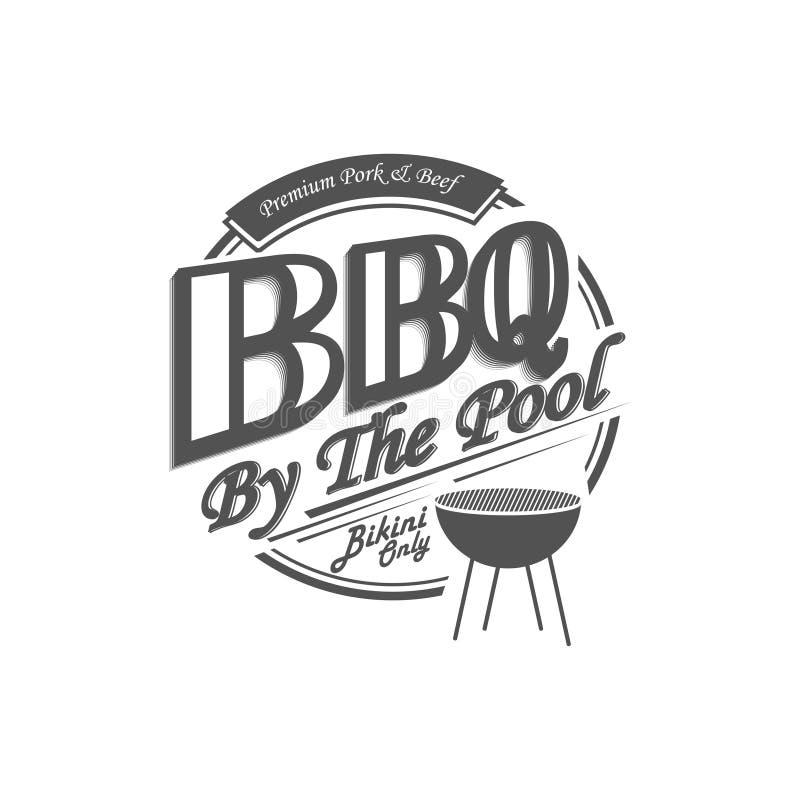 Heerlijk bbq tekenontwerp Barbecue door de pool Vector illustratie royalty-vrije illustratie