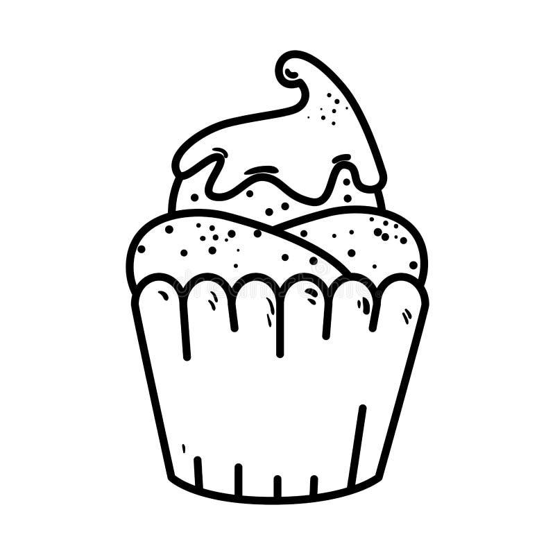 Heerlijk cupcake zoet pictogram royalty-vrije illustratie