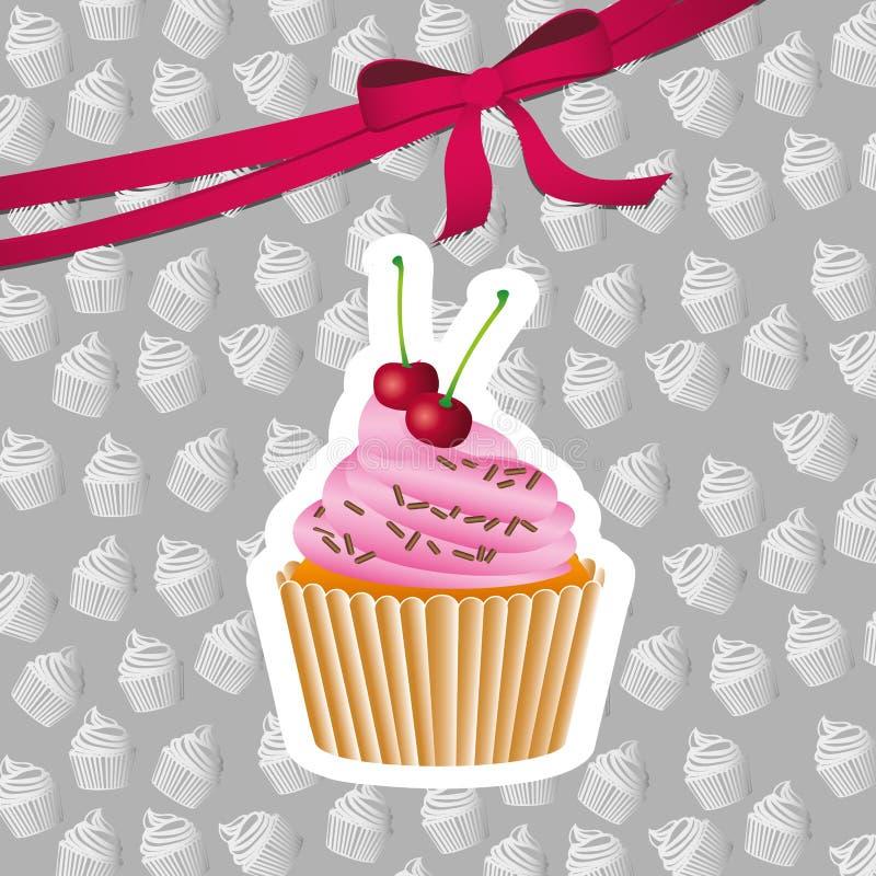 Heerlijk cupcakeontwerp royalty-vrije illustratie