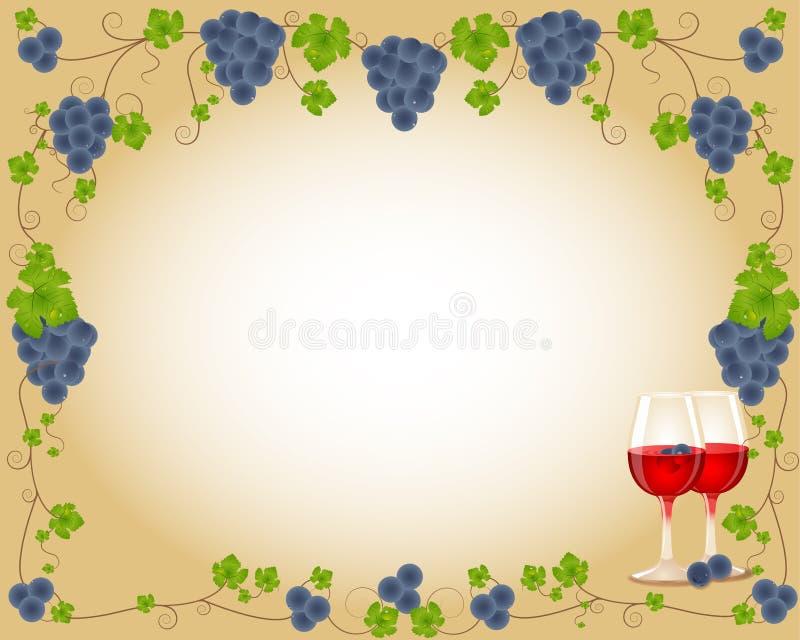 Heerlijk druivenframe met glas vector illustratie
