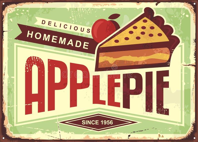 Heerlijk eigengemaakt appeltaart retro promotie reclameteken vector illustratie