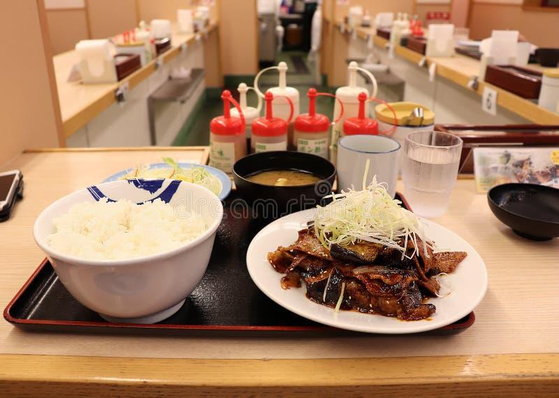 Heerlijk Japans voedsel die het traditionele Japanse miso kruiden gebruiken stock afbeelding