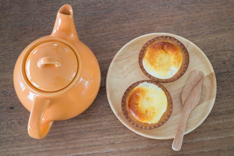 Heerlijk Mini Cheese Tart Dessert stock afbeeldingen