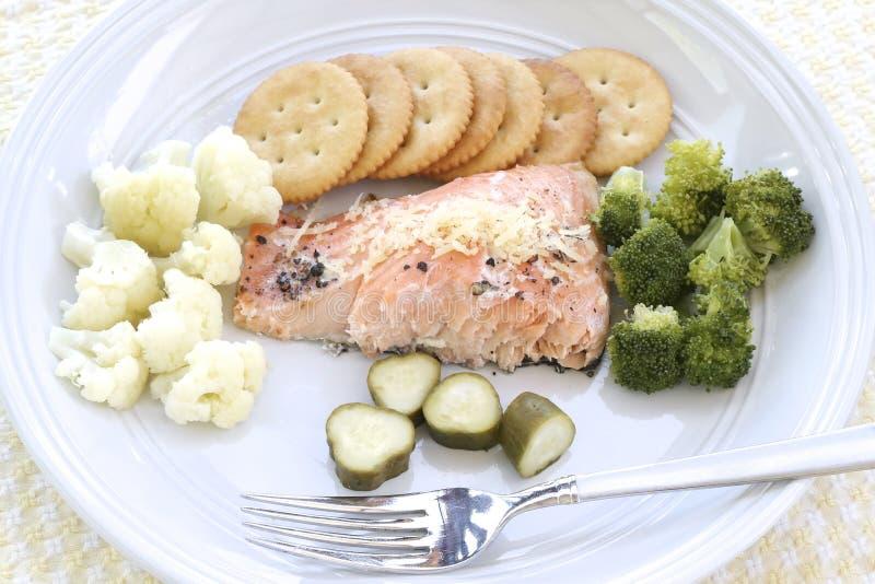 Heerlijk Salmon Dinner stock afbeelding