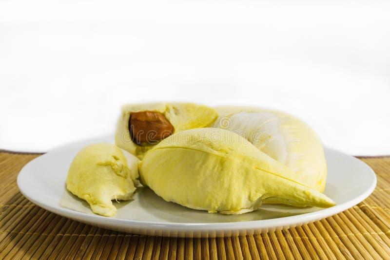 Heerlijk Thais fruit, stuk van durian op schotel royalty-vrije stock afbeelding
