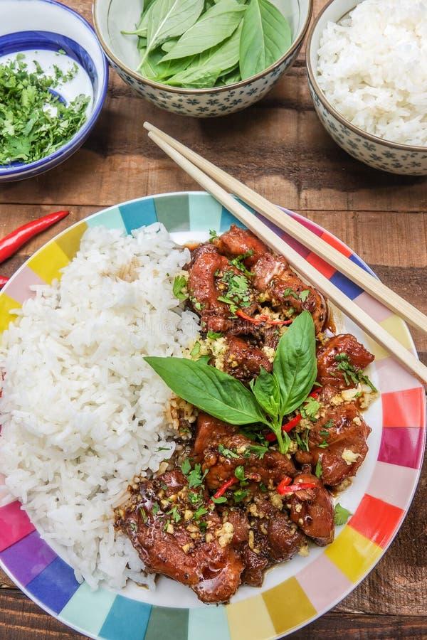 Heerlijk Vietnamees Gekarameliseerd Varkensvleesrecept stock foto's