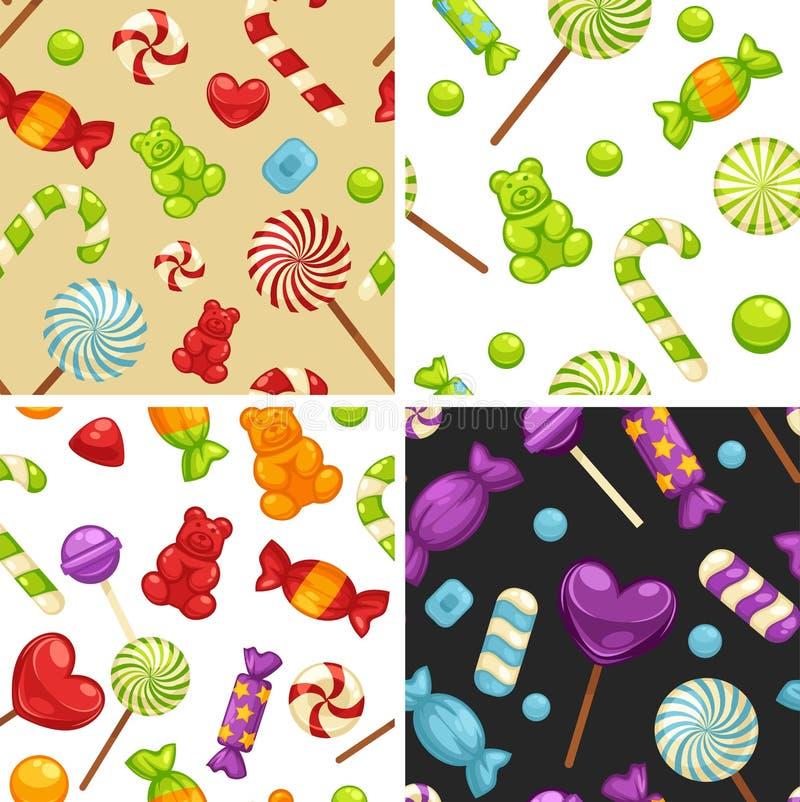 Heerlijk zoet suikergoed in heldere dekking en lollys in vorm van leuke harten, gestreept riet en kleine teddy in naadloos vector illustratie