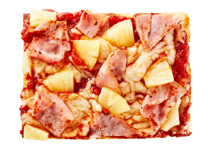 Heerlijke ananas en ham Hawaiiaanse pizza stock afbeeldingen