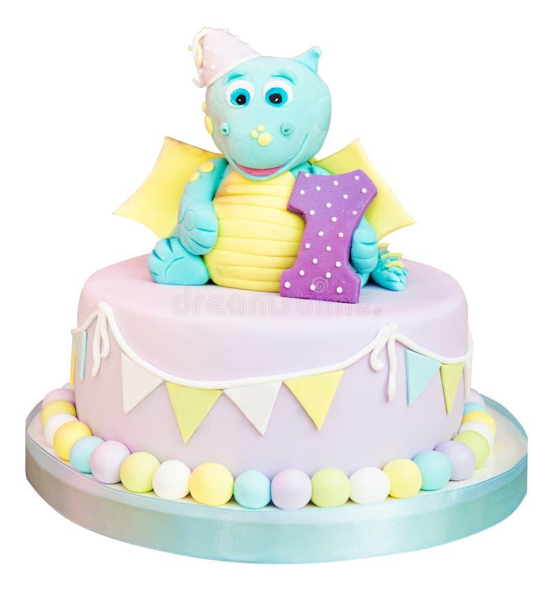 Heerlijke cake met weinig hippo stock foto