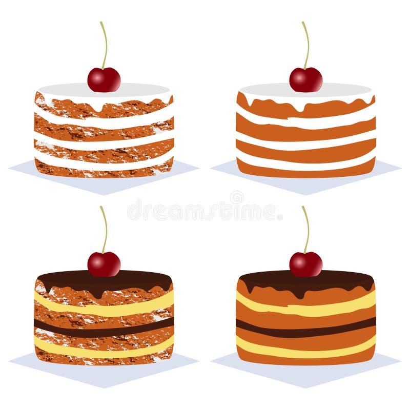 Heerlijke cakes met room, chocolade en kers De reeks van de cake Vector illustratie vector illustratie