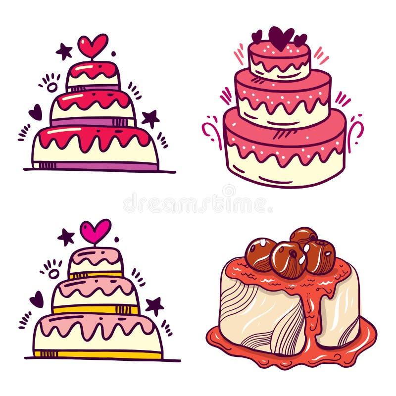 Heerlijke cakes met room, chocolade en kers De reeks van de cake Vector illustratie royalty-vrije illustratie