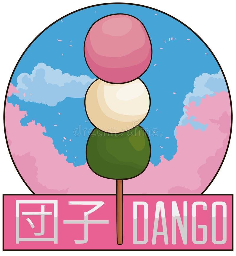 Heerlijke Dango met een Toneelmening van Cherry Trees, Vectorillustratie vector illustratie
