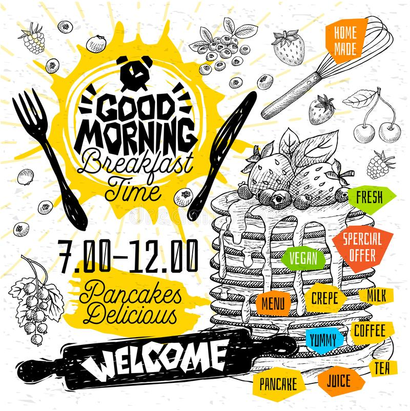 Heerlijke de tijd de Pannekoeken van het goedemorgenontbijt omfloerst restaurantmenu Vector de vliegerkaarten van het pannekoekvo royalty-vrije illustratie